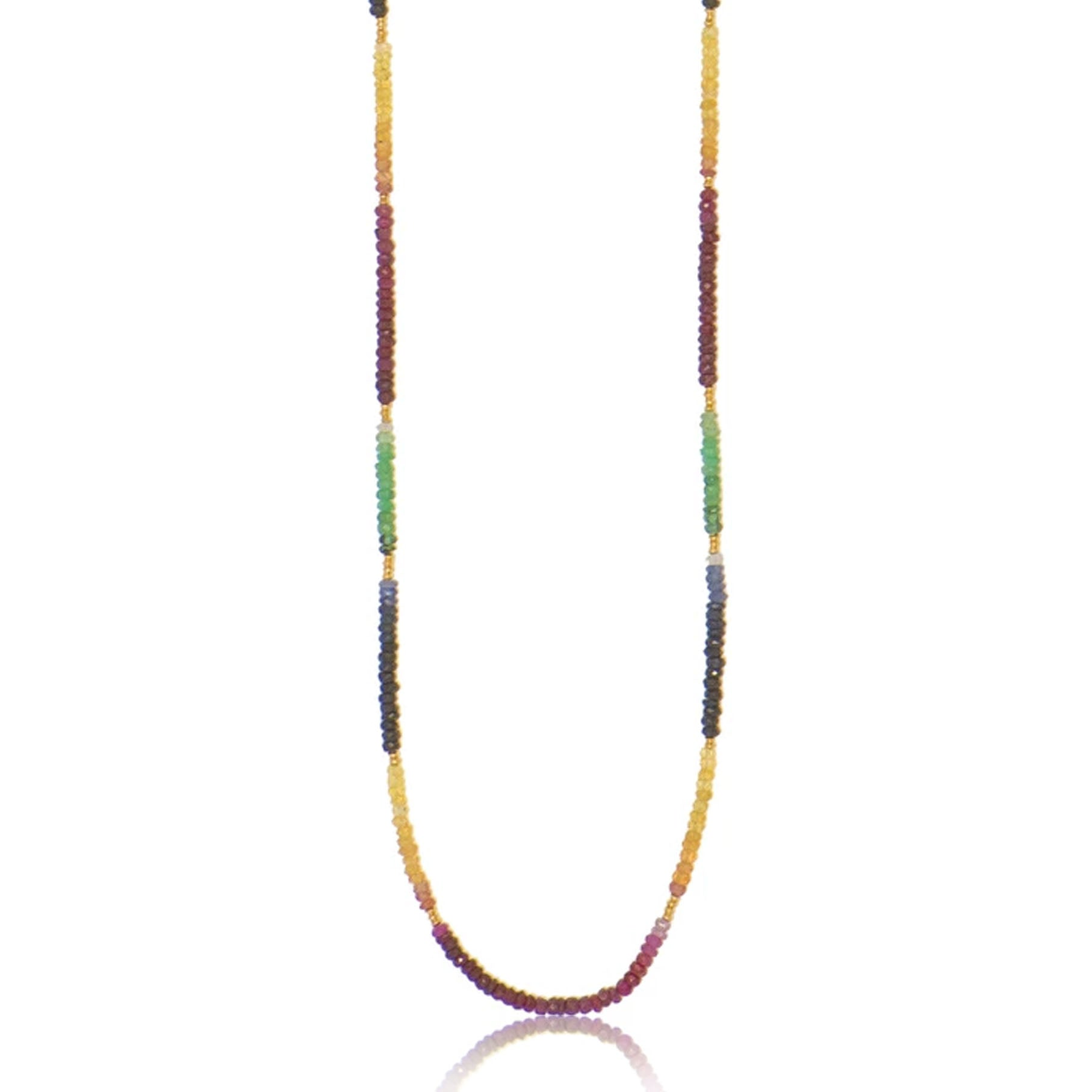 Long Rondel Necklace with Ruby, Sapphire and Emeralds