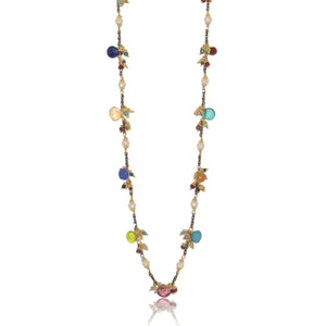Long Linked Jellybean Necklace with Freshwater Pearls-Rainbow Combo