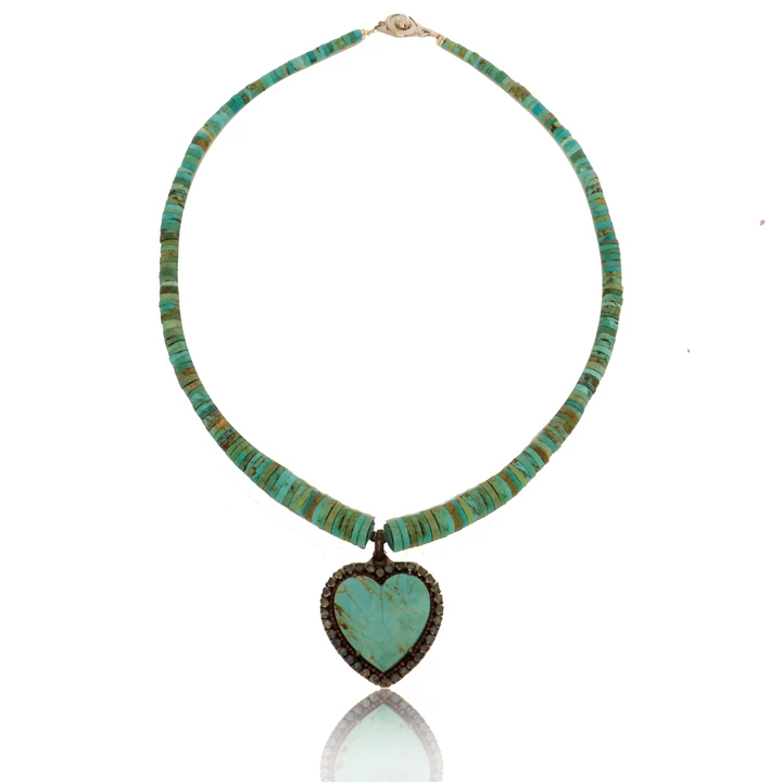 Turquoise Heart Necklace with Rhodolite Garnet and Moonstone