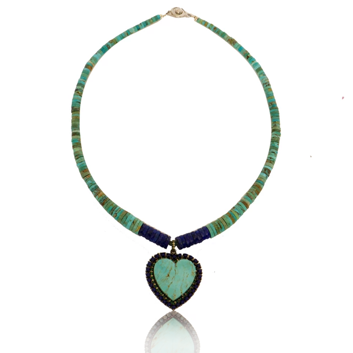 Turquoise Heart Necklace with Green Onyx and Lapis