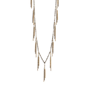 Long Oxidized Silver Sparkler with Tri Colored Fringe