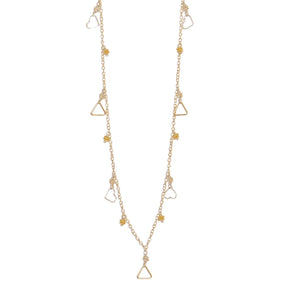 Long Gold Filled Sparkler with SS Clusters + Triangle Dangles