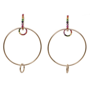 4 Earrings in 1-Hoops with add on rainbow sapphire rings
