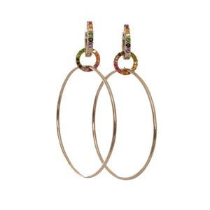 Hoops with Rainbow Sapphires