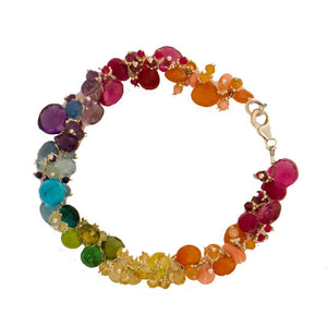 Classic Jellybean Bracelet with Small Assorted Semi Precious Stones