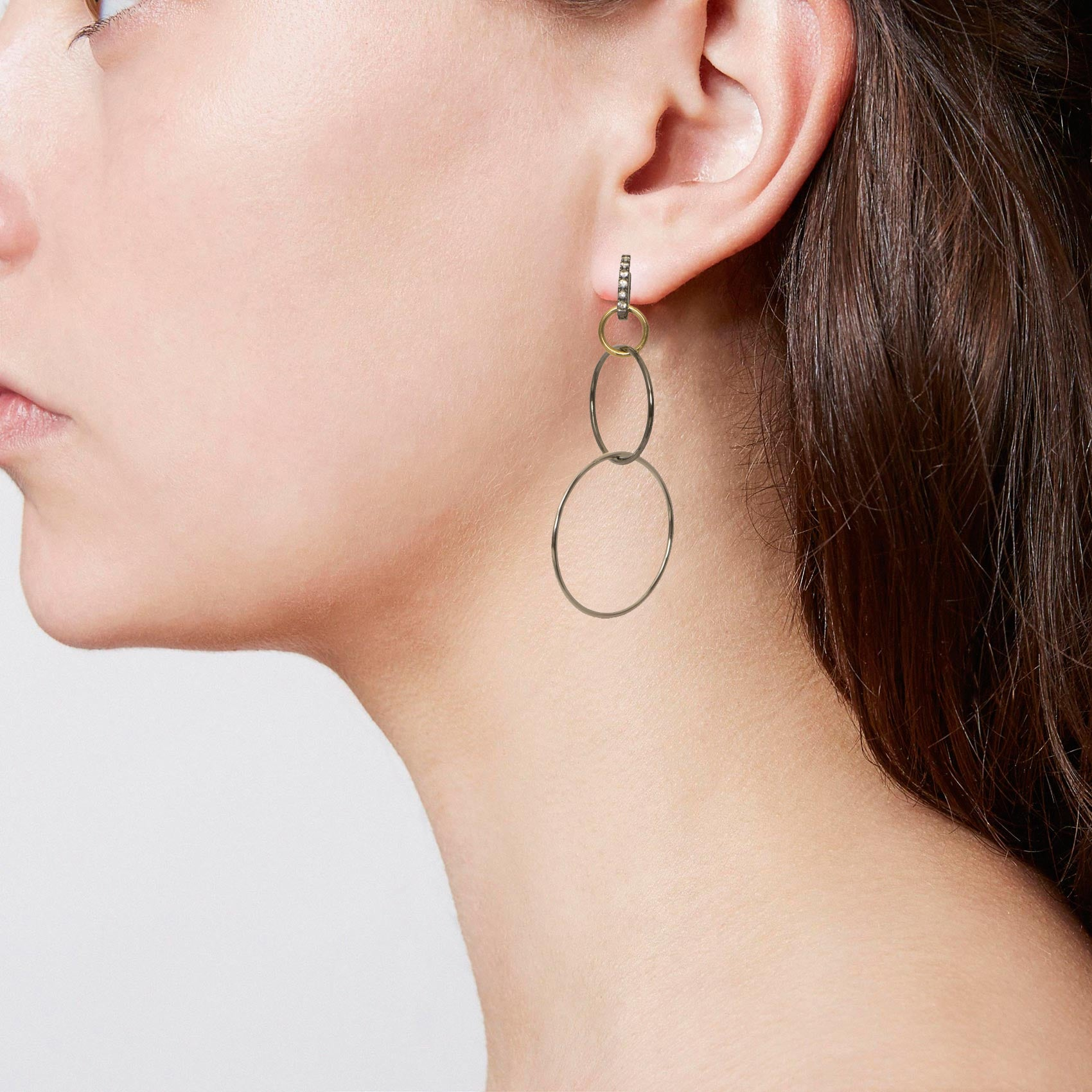 Tri Colored 3 Ring Circle Hoop Earring with White Sapphires