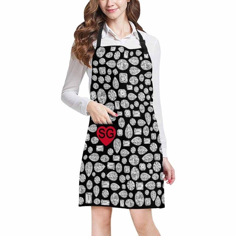 "CUSTOMIZABLE ""Diamond"" Apron (Black)"