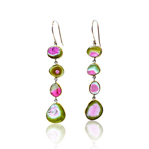 Watermelon Tourmaline 4 Drop Dangles