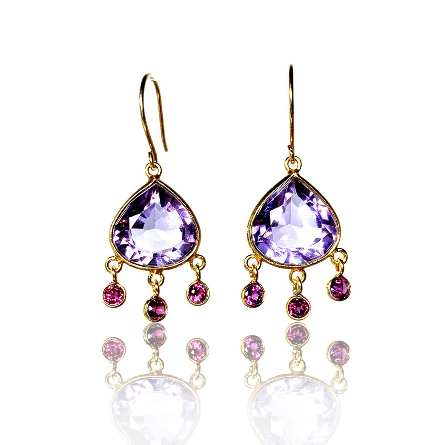 Amethyst with Rhodolite Garnet dangles