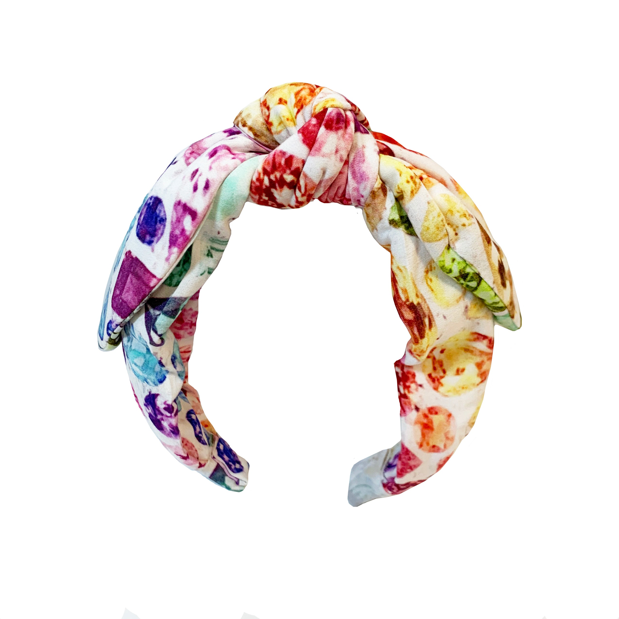 Ivory/Rainbow Top Knot Gem Print Headband
