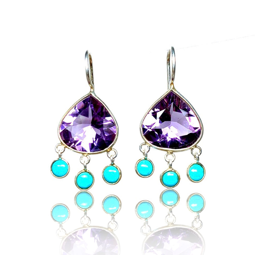 Amethyst with Turquoise Dangles