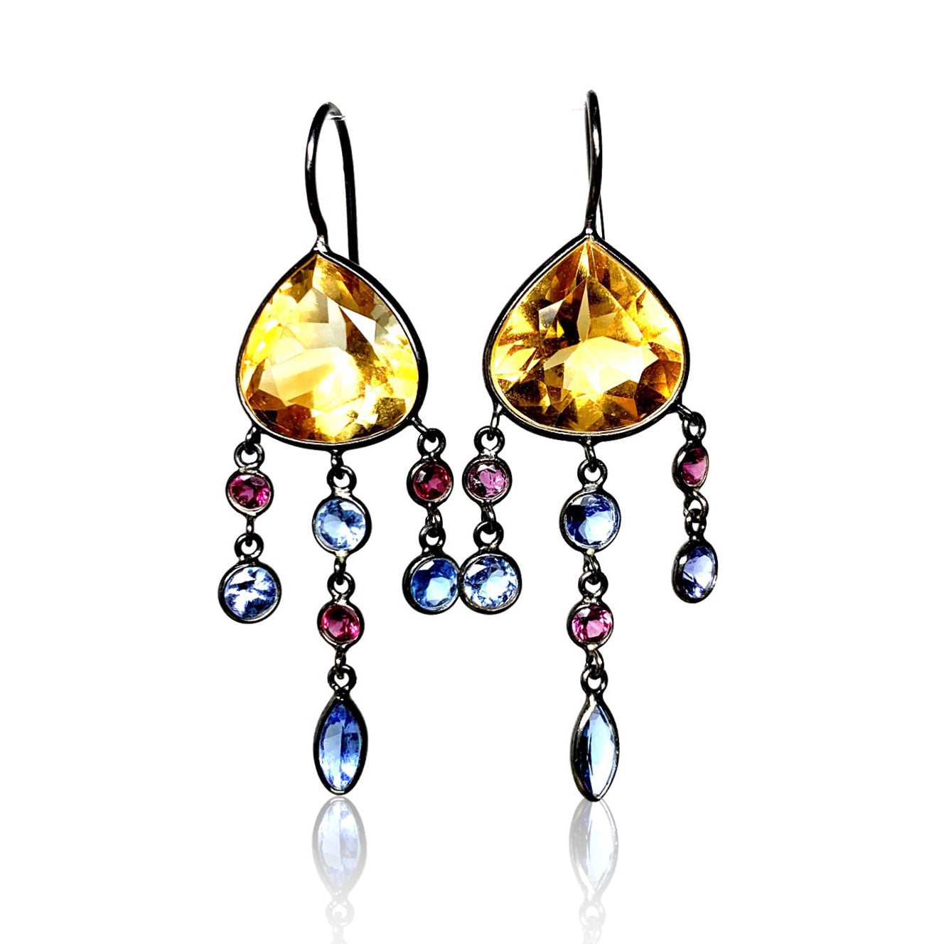 Citrine with Rhodolite Garnet and Tanzanite Dangles