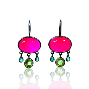 Pink Chalcedony with Emerald and Peridot Dangles