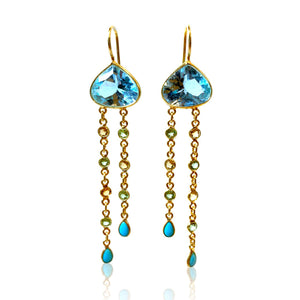 Blue Topaz Large Drop with Peridot, Citrine and Turquoise Dangles