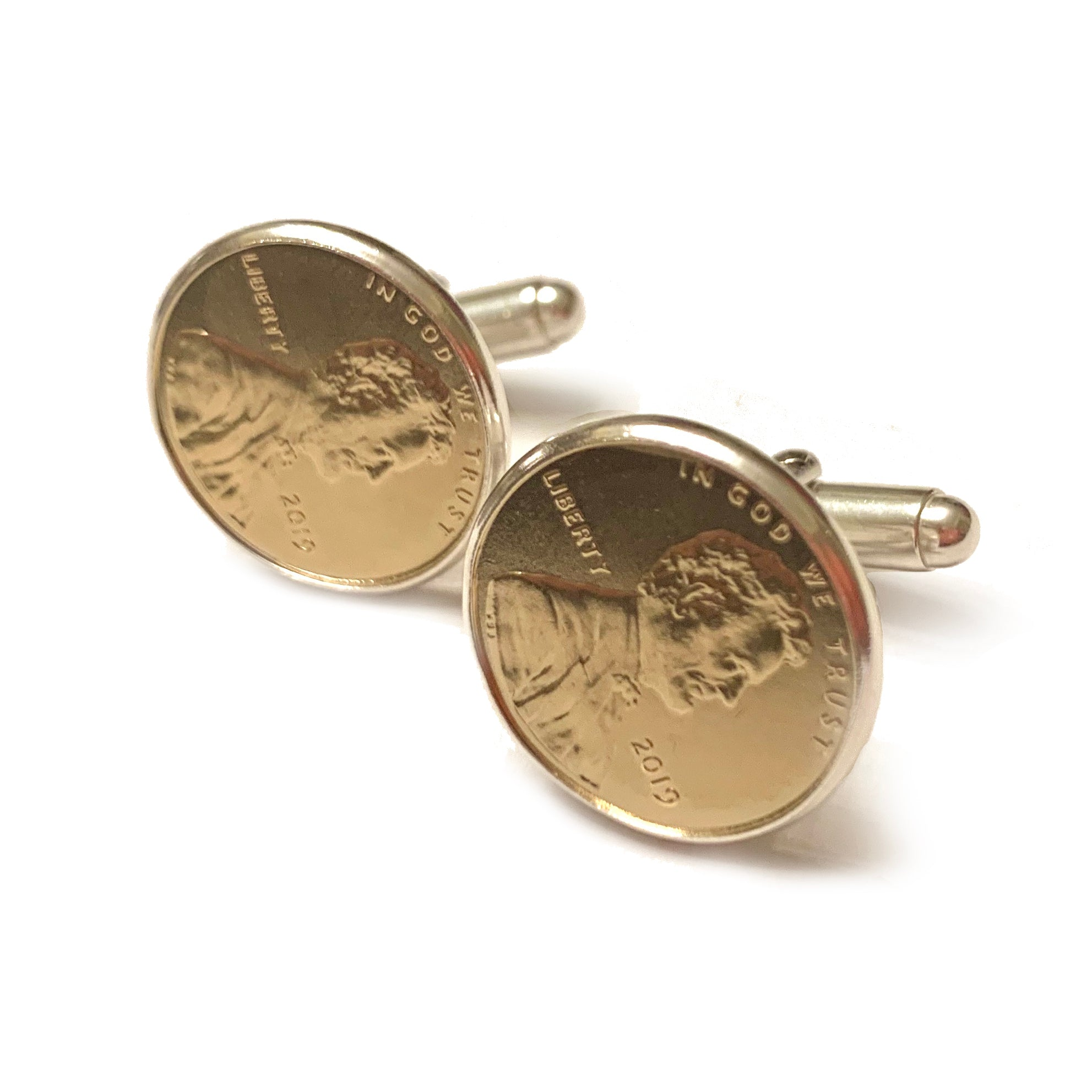 CUSTOMIZABLE Gold Plated Penny Cufflinks