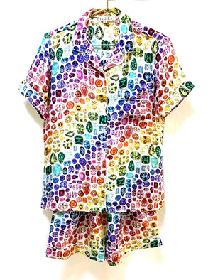 Rainbow Gem Pajamas Silk- Ivory/Rainbow