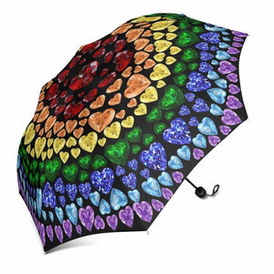 "Black Rainbow Gemstone ""Heart"" Umbrella (Regular)"