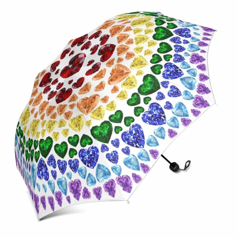 "White Rainbow Gemstone ""Heart"" Umbrella (Regular)"