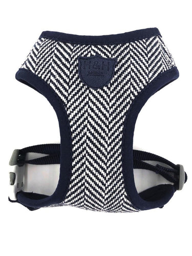Navy Herringbone Tweed Harness vest harness