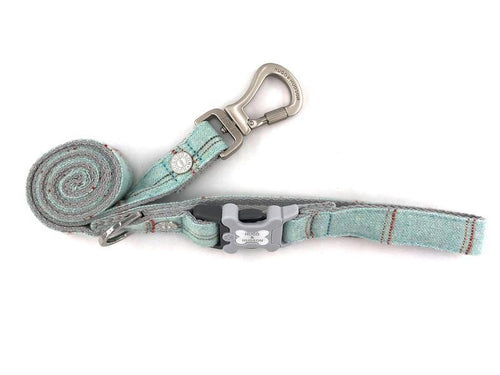 Hugo & Hudson Aqua Check Tweed Easy Attachable Dog Lead