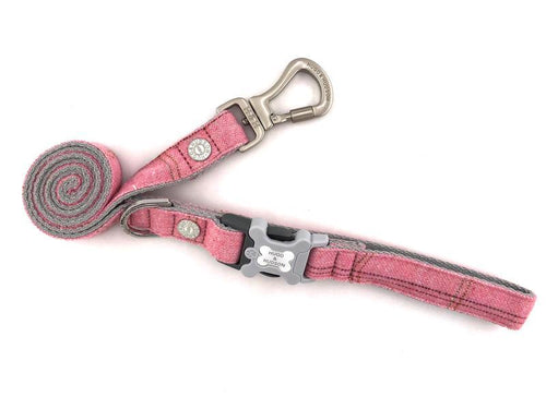 Hugo & Hudson Pink Check Tweed Easy Attachable Dog Lead