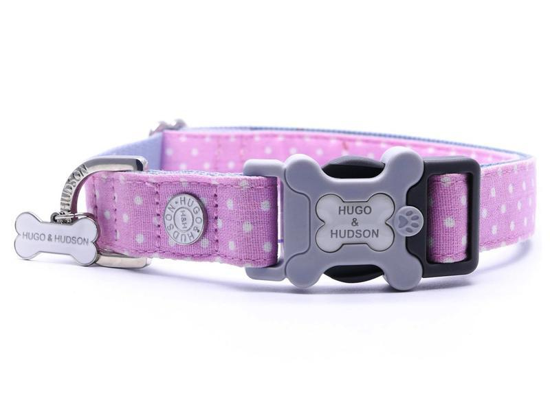 Pink Polka Dot Hugo & Hudson Bone Clasp Collar & Lead Combination