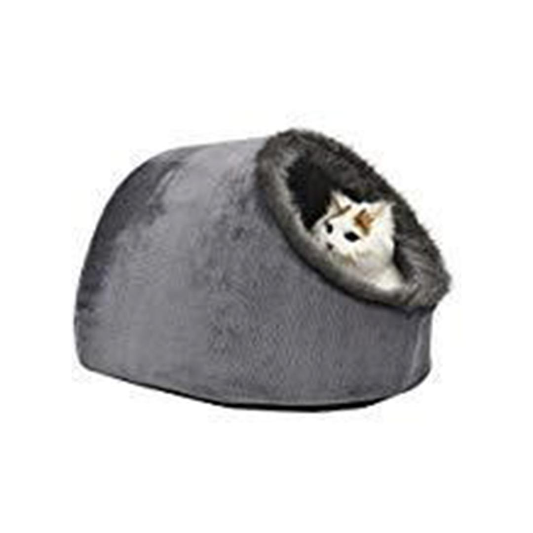 Grey Igloo Hideout Cave Cat Bed