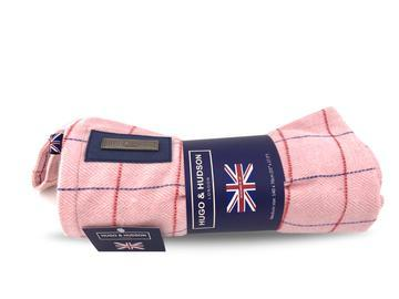 Hugo & Hudson Pink  Check Tweed Dog Blanket