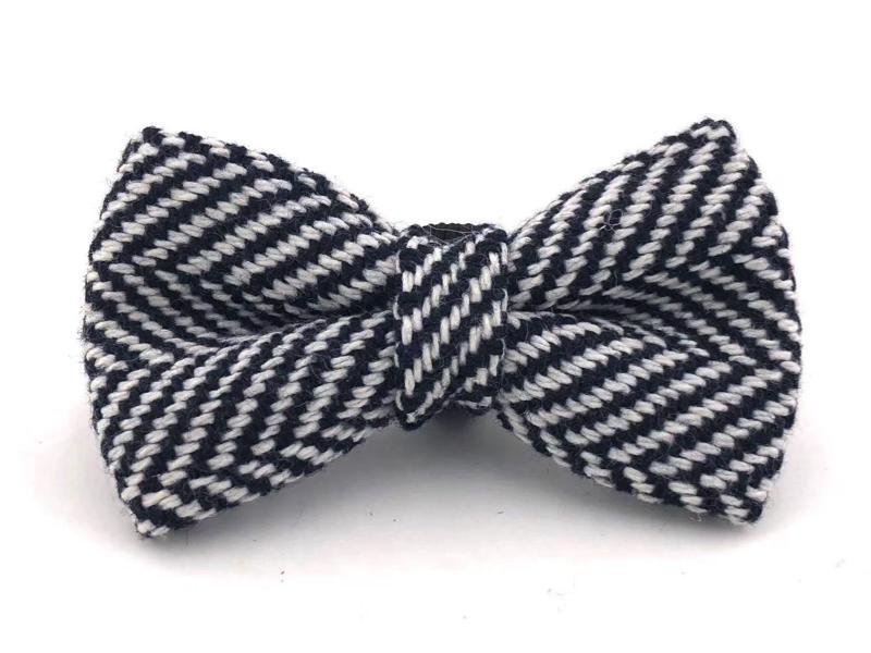 Navy Blue Tweed Bow Tie
