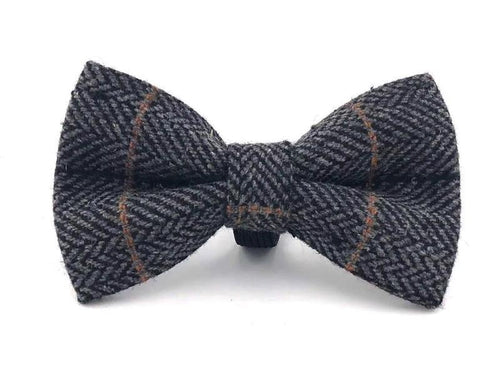 Navy Checked Blue Tweed Bow Tie