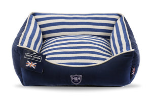 Hugo & Hudson Blue & White Stripe Dog Bed
