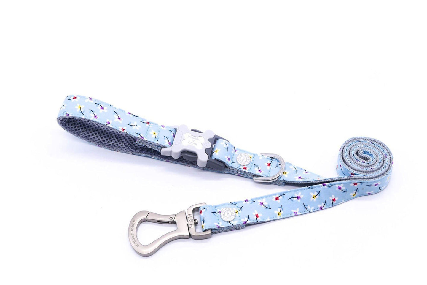 Breathable Mesh Dog Leash - Hugo & Hudson Blue Floral Easy Attachable Dog Lead