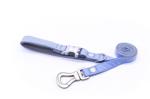 Breathable Mesh Dog Leash - Hugo & Hudson Blue Gingham Easy Attachable Dog Lead