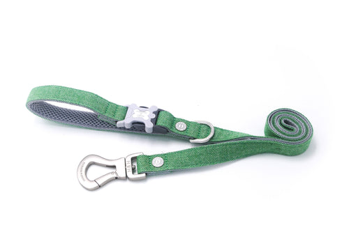 Breathable Mesh Dog Leash - Hugo & Hudson Green Herringbon Easy Attachable Dog Lead