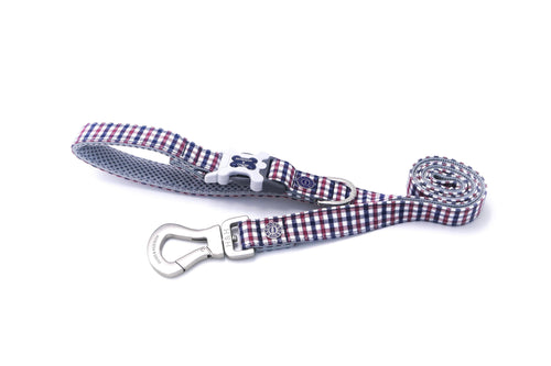 Breathable Mesh Dog Leash - Hugo & Hudson Navy & Red Check Easy Attachable Dog Lead