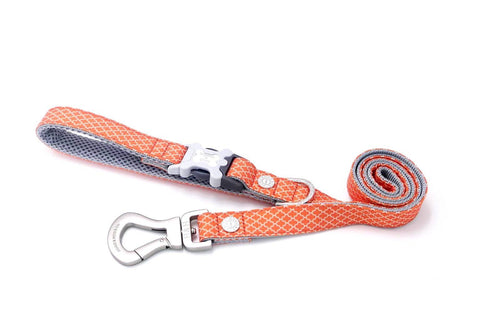 Breathable Mesh Dog Leash - Hugo & Hudson Orange Geographic Print Easy Attachable Dog Lead