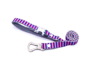 Breathable Mesh Dog Leash - Hugo & Hudson Pink & Blue Stripe Easy Attachable Dog Lead