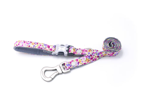 Breathable Mesh Dog Leash - Hugo & Hudson Pink Multifloral Easy Attachable Dog Lead