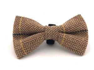 Brown Checked Tweed Bow Tie