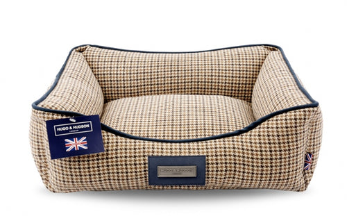 Hugo & Hudson Brown Check Tweed Dog Bed