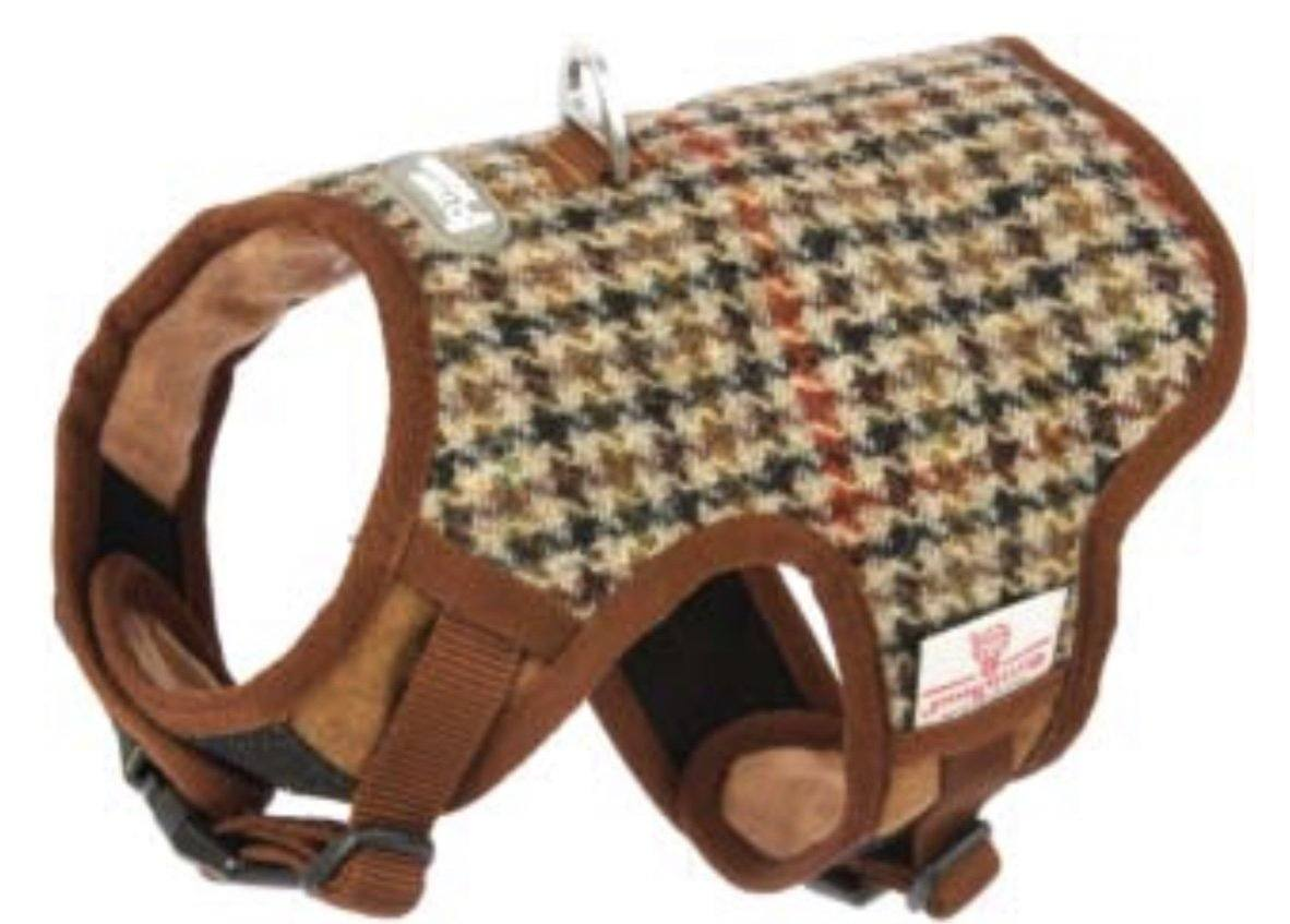 Brown Check Harris Tweed Harness vest harness