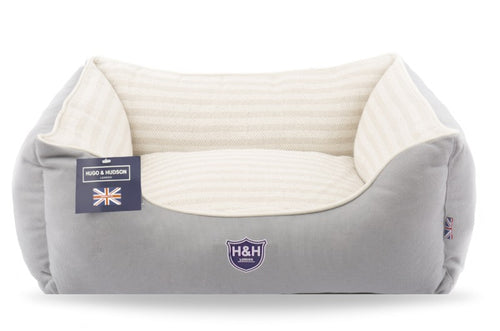 Hugo & Hudson Grey & White Stripe Dog Bed