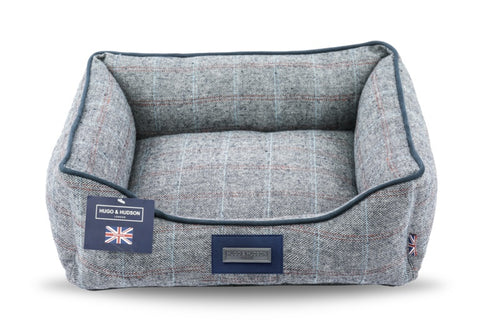 Hugo & Hudson Grey Check Tweed Dog Bed