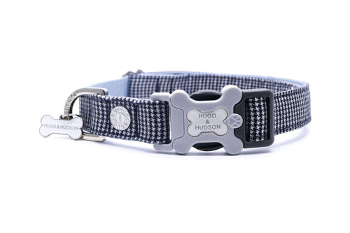 Hugo & Hudson Bone Clasp Collar - Hugo & Hudson Black Dogstooth Check Premium Dog Collar