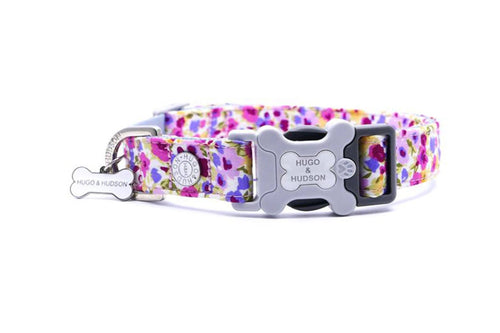 Hugo & Hudson Bone Clasp Collar - Hugo & Hudson Bone Pink & Purple Multi Floral Bone Clasp Collar