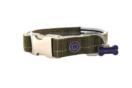 Hugo & Hudson Bone Clasp Collar - Hugo & Hudson Dark Green Tweed Metal Clasp Collar