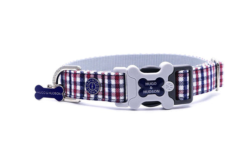 Hugo & Hudson Bone Clasp Collar - Hugo & Hudson Navy & Red Check Premium Dog Collar