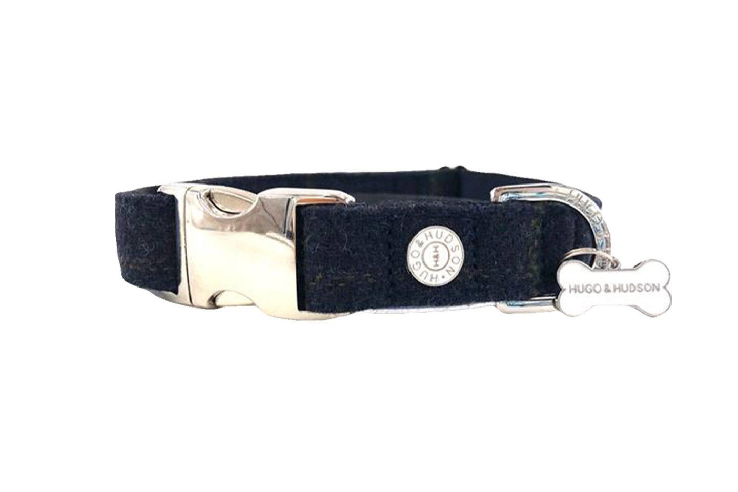 Hugo & Hudson Bone Clasp Collar - Hugo & Hudson Navy Tweed Metal Clasp Collar