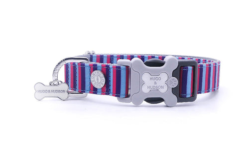 Hugo & Hudson Bone Clasp Collar - Hugo & Hudson Pink & Blue Stripe Premium Dog Collar