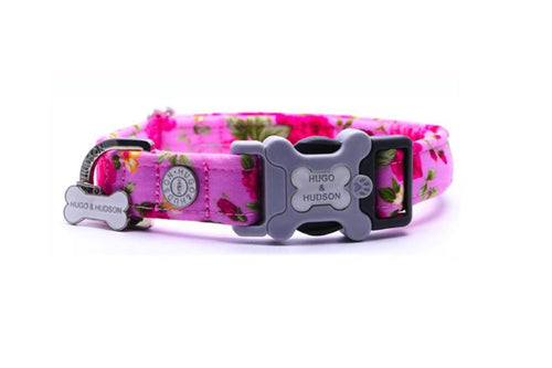 Hugo & Hudson Bone Clasp Collar - Hugo & Hudson Pink Floral Bone Clasp Collar & Lead Combination